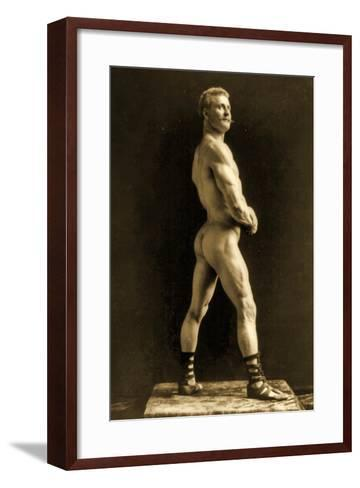 Eugen Sandow, in Classical Ancient Greco-Roman Pose, C.1893-Napoleon Sarony-Framed Art Print