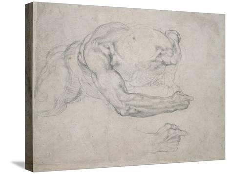 Study of a Man Rising from the Ground-Michelangelo Buonarroti-Stretched Canvas Print