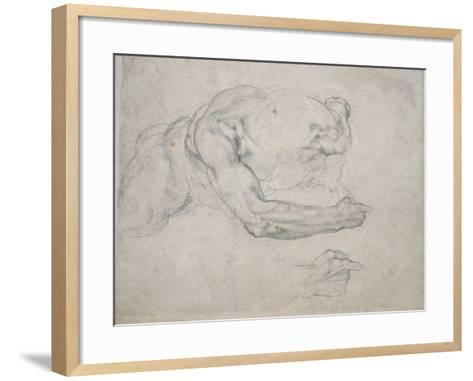 Study of a Man Rising from the Ground-Michelangelo Buonarroti-Framed Art Print