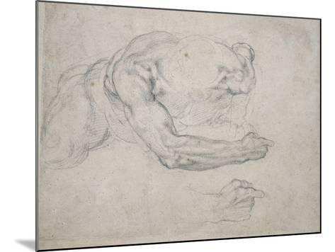 Study of a Man Rising from the Ground-Michelangelo Buonarroti-Mounted Giclee Print