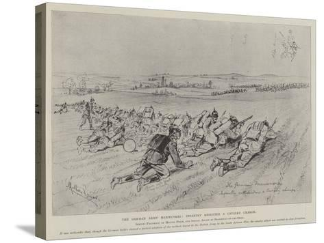 The German Army Manoeuvres, Infantry Resisting a Cavalry Charge-Melton Prior-Stretched Canvas Print