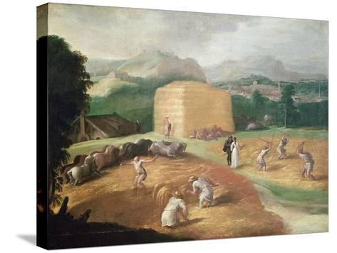 Landscape with Corn Threshers-Niccolo dell' Abate-Stretched Canvas Print