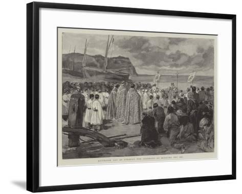 Ascension Day at Etretat, the Ceremony of Blessing the Sea-Oswaldo Tofani-Framed Art Print