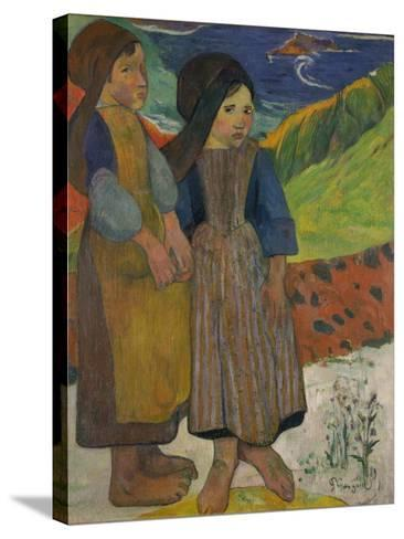 Little Breton Girls by the Sea, 1889-Paul Gauguin-Stretched Canvas Print