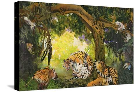 Under the Banyan Tree, 1997 (Inks, Acrylics and Pencil Crayon on Canvas)-Odile Kidd-Stretched Canvas Print