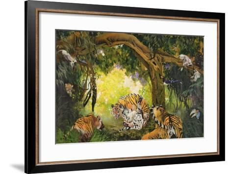 Under the Banyan Tree, 1997 (Inks, Acrylics and Pencil Crayon on Canvas)-Odile Kidd-Framed Art Print