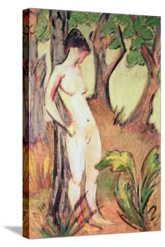 Nude Standing Against a Tree-Otto Muller-Stretched Canvas Print