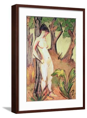 Nude Standing Against a Tree-Otto Muller-Framed Art Print