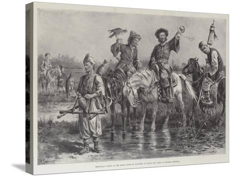 Mongolian Chiefs at the Royal Sport of Falconry at Dalay Nov Lake, in Western Mongolia-Paul Frenzeny-Stretched Canvas Print