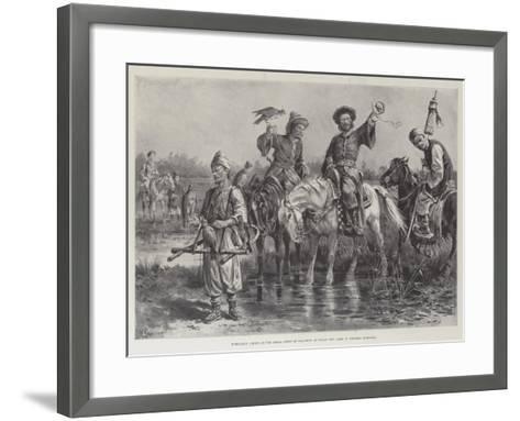 Mongolian Chiefs at the Royal Sport of Falconry at Dalay Nov Lake, in Western Mongolia-Paul Frenzeny-Framed Art Print