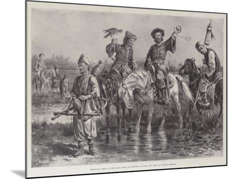 Mongolian Chiefs at the Royal Sport of Falconry at Dalay Nov Lake, in Western Mongolia-Paul Frenzeny-Mounted Giclee Print