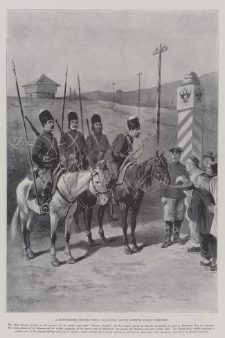 A Chino-Russian Frontier Post in Manchuria, Coolies Entering Russian Territory-Paul Frenzeny-Stretched Canvas Print