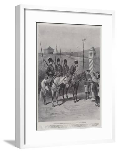 A Chino-Russian Frontier Post in Manchuria, Coolies Entering Russian Territory-Paul Frenzeny-Framed Art Print