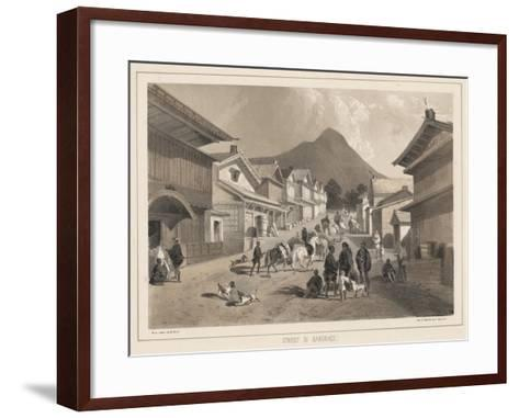 Street in Hakodadi, Litho by Sarony and Co., 1855-Peter Bernhard Wilhelm Heine-Framed Art Print