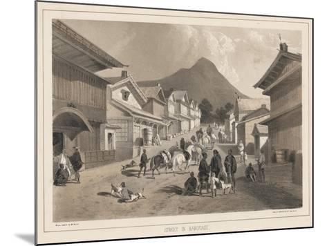 Street in Hakodadi, Litho by Sarony and Co., 1855-Peter Bernhard Wilhelm Heine-Mounted Giclee Print