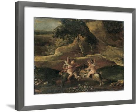 Putti Fighting on Goats-Nicolas Poussin-Framed Art Print