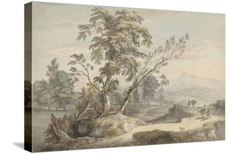 Italianate Landscape with Travellers No.2, C.1760 (W/C, Pen and Grey Ink over Graphite)-Paul Sandby-Stretched Canvas Print