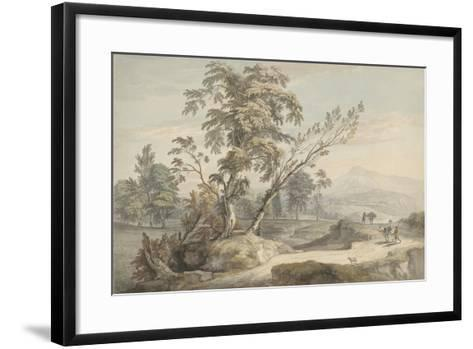 Italianate Landscape with Travellers No.2, C.1760 (W/C, Pen and Grey Ink over Graphite)-Paul Sandby-Framed Art Print