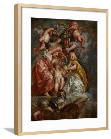The Union of England and Scotland (Charles I as the Prince of Wales), C.1633-34 (Oil on Oak Panel)-Peter Paul Rubens-Framed Art Print