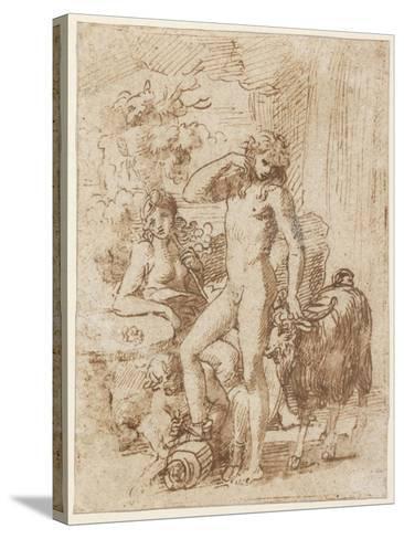 Bacchus and Erigone-Nicolas Poussin-Stretched Canvas Print