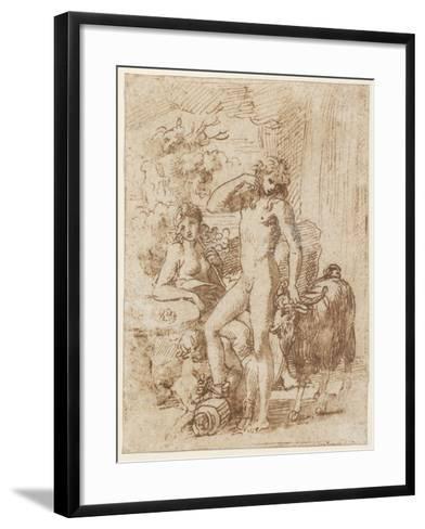Bacchus and Erigone-Nicolas Poussin-Framed Art Print