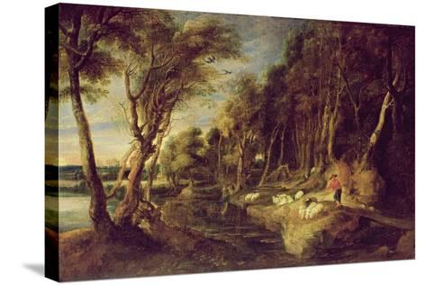Landscape with a Shepherd-Peter Paul Rubens-Stretched Canvas Print