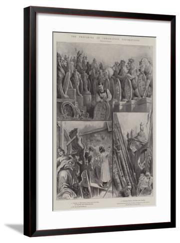 The Preparing of Coronation Decorations-Paul Frenzeny-Framed Art Print