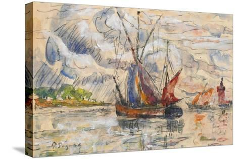 Fishing Boats in La Rochelle, C.1919-21 (Graphite, W/C and Opaque White)-Paul Signac-Stretched Canvas Print