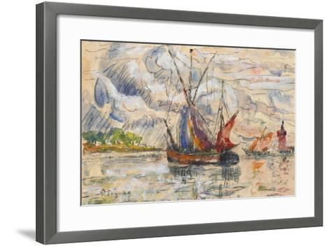 Fishing Boats in La Rochelle, C.1919-21 (Graphite, W/C and Opaque White)-Paul Signac-Framed Art Print