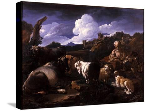Herdsman with His Flock-Philipp Peter Roos-Stretched Canvas Print