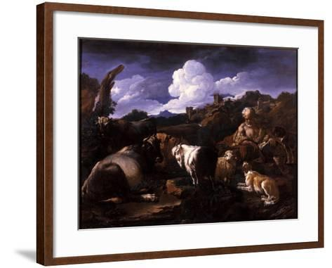 Herdsman with His Flock-Philipp Peter Roos-Framed Art Print