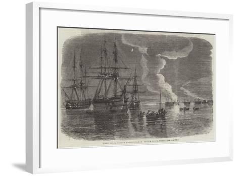Russian Frigate on Fire in Sebastopol Harbour-Oswald Walters Brierly-Framed Art Print