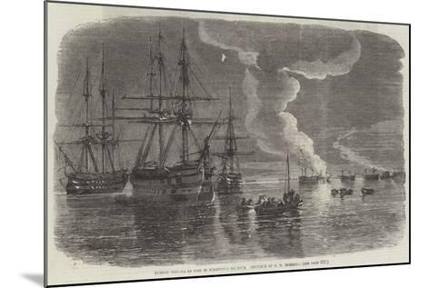 Russian Frigate on Fire in Sebastopol Harbour-Oswald Walters Brierly-Mounted Giclee Print