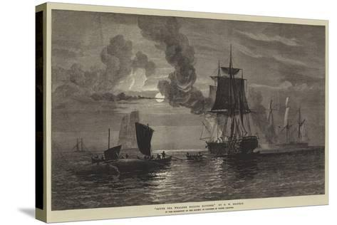 South Sea Whalers Boiling Blubber-Oswald Walters Brierly-Stretched Canvas Print