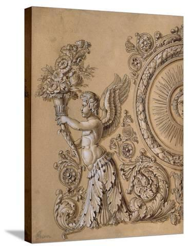 Silverwork Design Depicting a Cherub with Acanthus Leaves- Prieur-Stretched Canvas Print