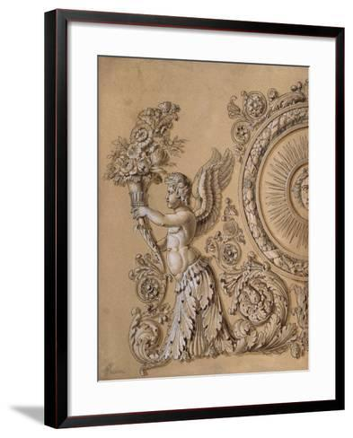 Silverwork Design Depicting a Cherub with Acanthus Leaves- Prieur-Framed Art Print