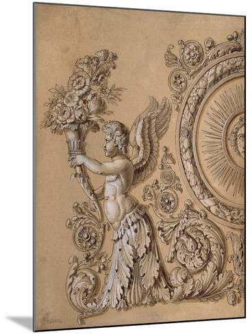 Silverwork Design Depicting a Cherub with Acanthus Leaves- Prieur-Mounted Giclee Print