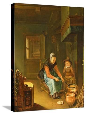 An Interior with a Woman Cooking Pancakes with a Young Boy before a Hearth-Pieter van Slingelandt-Stretched Canvas Print