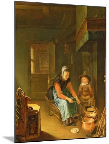 An Interior with a Woman Cooking Pancakes with a Young Boy before a Hearth-Pieter van Slingelandt-Mounted Giclee Print