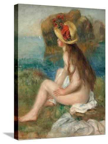 Nude with a Straw Hat Beside the Sea, 1892-Pierre-Auguste Renoir-Stretched Canvas Print