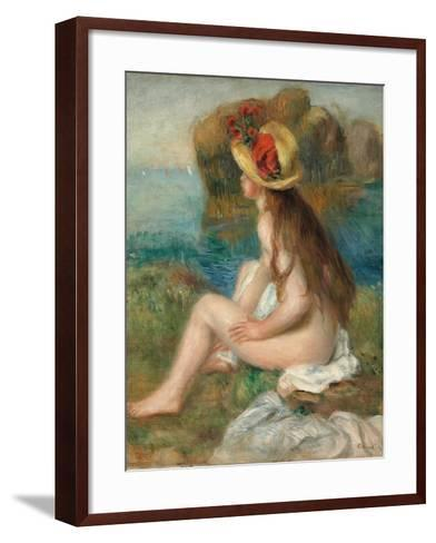 Nude with a Straw Hat Beside the Sea, 1892-Pierre-Auguste Renoir-Framed Art Print