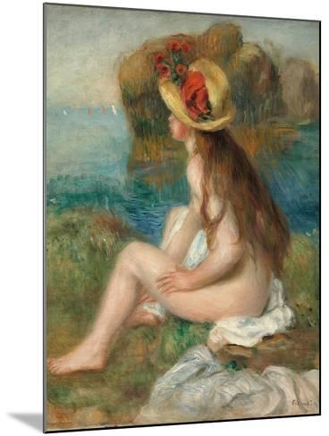 Nude with a Straw Hat Beside the Sea, 1892-Pierre-Auguste Renoir-Mounted Giclee Print