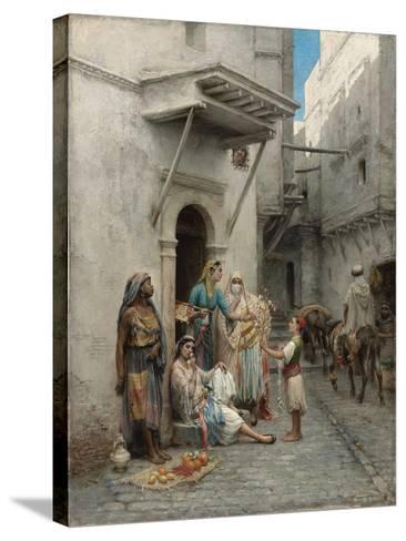 The Young Flower Seller; Le Jeune Marchand De Fleurs-Pierre Outin-Stretched Canvas Print
