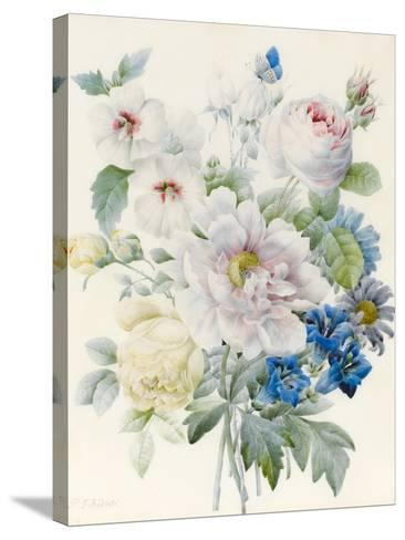 A Bunch of Flowers Including a Peony-Pierre Joseph Redoute-Stretched Canvas Print