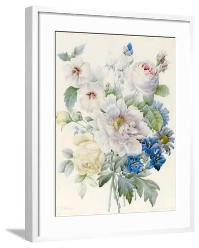 A Bunch of Flowers Including a Peony-Pierre Joseph Redoute-Framed Art Print