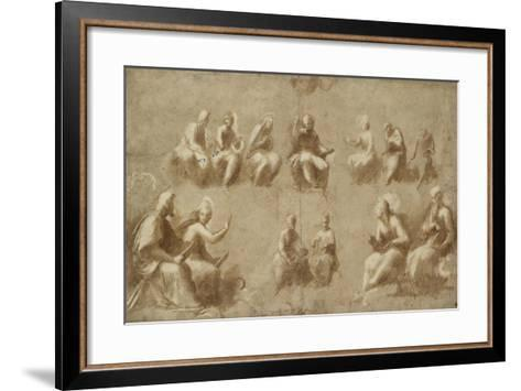 Christ and the Saints in Glory (Study for the Disputa)-Raphael-Framed Art Print