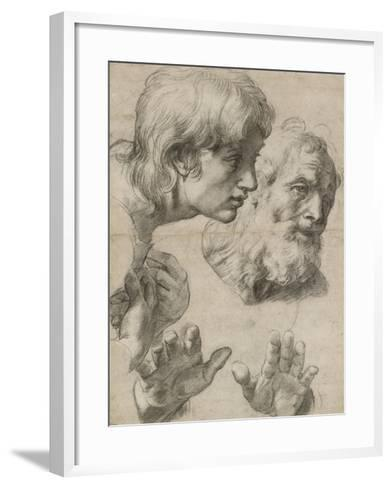 Studies of the Heads of Two Apostles and of their Hands-Raphael-Framed Art Print