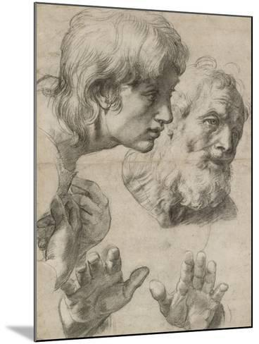 Studies of the Heads of Two Apostles and of their Hands-Raphael-Mounted Giclee Print