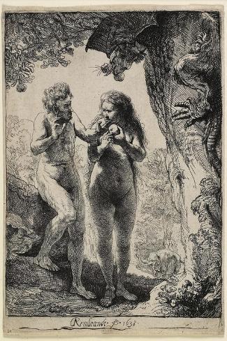 Adam and Eve, 1638-1658-Rembrandt van Rijn-Stretched Canvas Print