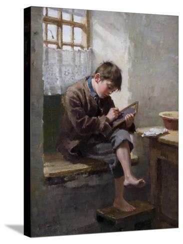 Home Lessons, 1887-Ralph Hedley-Stretched Canvas Print